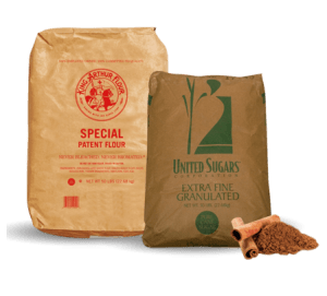 Bulk and wholesale ingredients – flour and sugar.