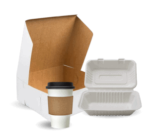 Coffee shop supplies consisting of togo cups and containers
